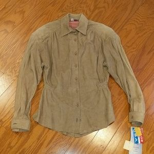 NWT Vintage tan suede/leather peplum shirt